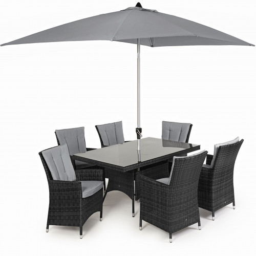 LA 6 Seat Rectangle Dining Set with Parasol/ Grey