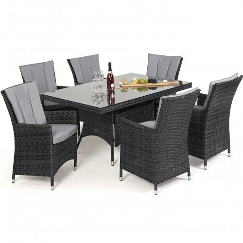 LA 6 Seat Rectangle Dining Set / Grey