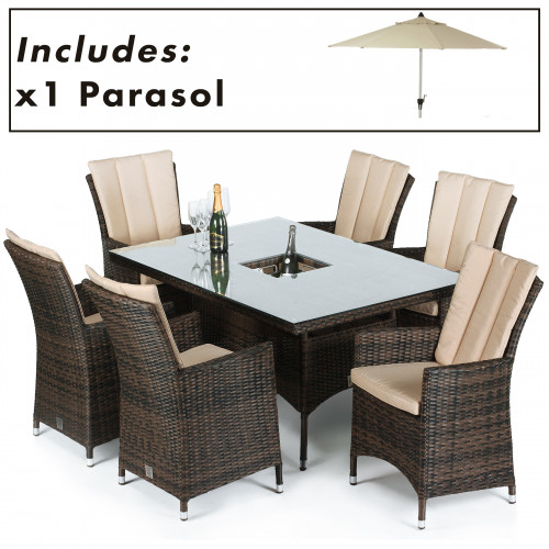 LA 6 Seat Rectangular Ice Bucket Dining Set with Parasol/ Brown