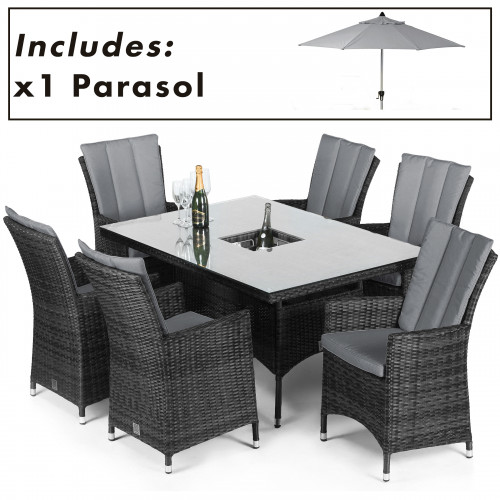 LA 6 Seat Rectangular Ice Bucket Dining Set with Parasol / Grey