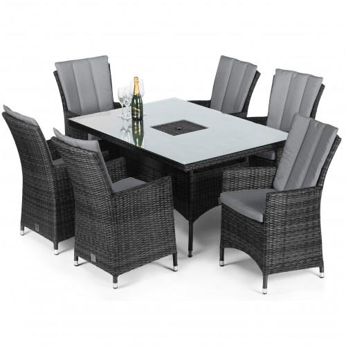 LA 6 Seat Rectangular Ice Bucket Dining Set / Grey