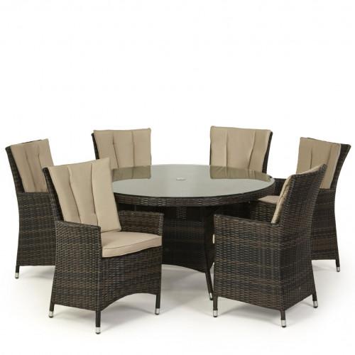 LA 6 Seat Round Dining Set / Brown