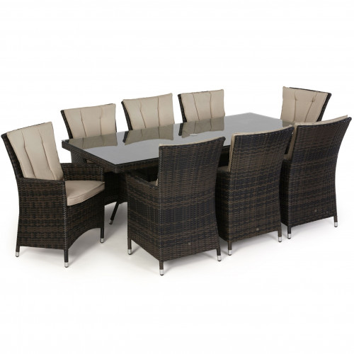 LA 8 Seat Rectangle Dining Set / Brown