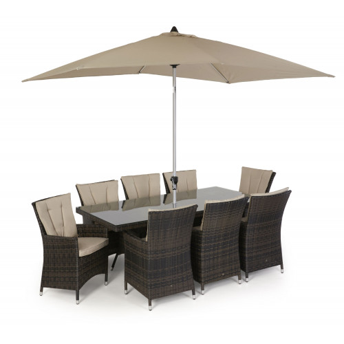 LA 8 Seat Rectangle Dining Set with Parasol/ Brown