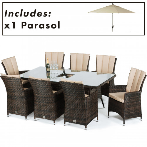 LA 8 Seat Rectangular Ice Bucket Dining Set with Parasol/ Brown