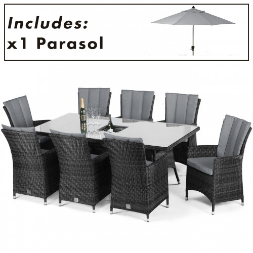LA 8 Seat Rectangular Ice Bucket Dining Set with Parasol/ Grey