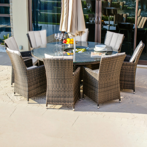 LA 8 Seat Round Ice Bucket Dining Set with LS and Parasol/ Brown