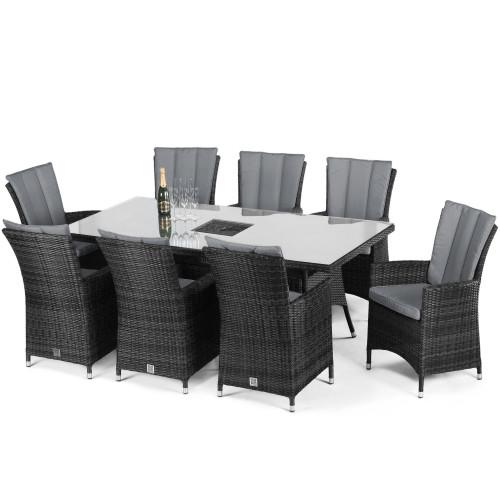 LA 8 Seat Rectangular Ice Bucket Dining Set / Grey