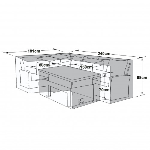 Outdoor Cover for Kingston Corner Set with Rising Table