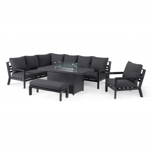 Manhattan Reclining Corner Dining Set with Fire Pit Table & Armchair