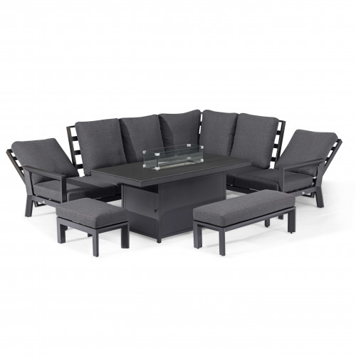 Manhattan Reclining Corner Dining Set with Fire Pit Table