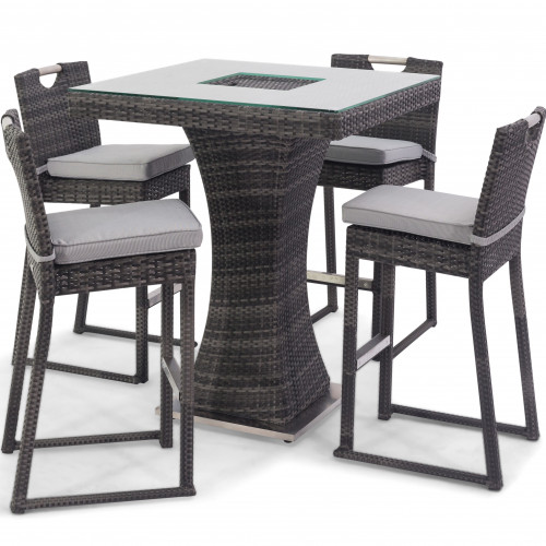 4 Seat Square Bar Set with Ice Bucket / Grey