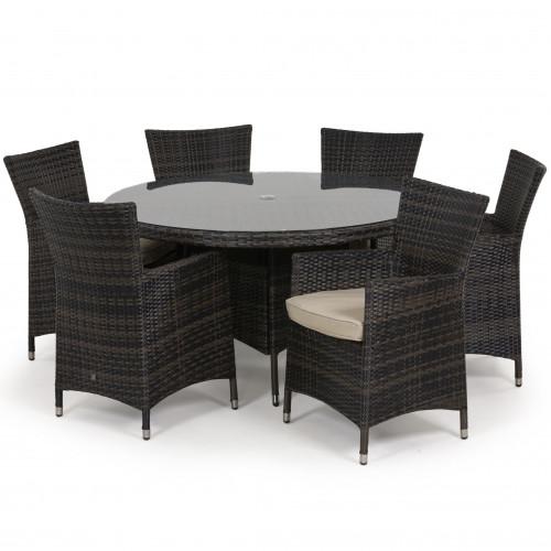 Miami 6 Seat Round Dining Set / Brown