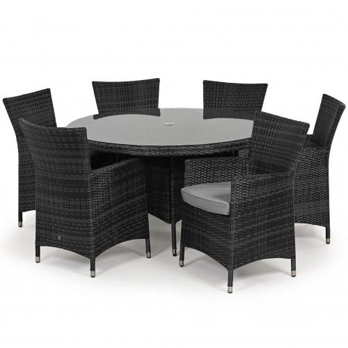 Miami 6 Seat Round Dining Set / Grey