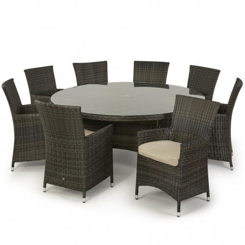 Miami 8 Seat Round Dining Set / Brown