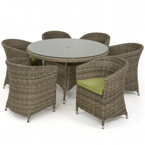 Milan 6 Seat Round Dining Set with Rounded Chair / Nat - Green