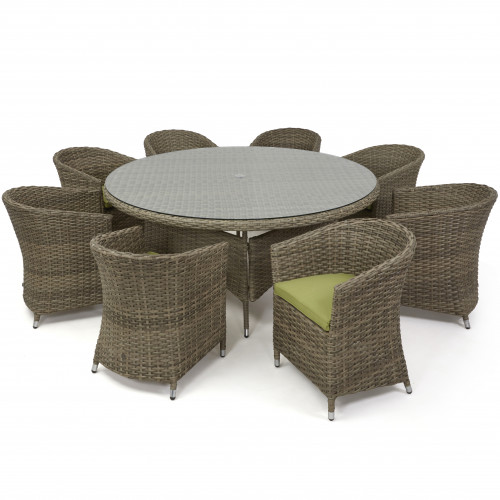 Milan 8 Seat Round Dining Set with Rounded Chair / Nat - Green