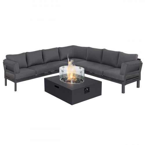 Oslo Large Corner Group with Square Gas Fire Pit Table