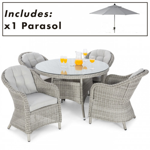 Oxford 4 Seat Round Dining Set with Heritage Chairs and Parasol