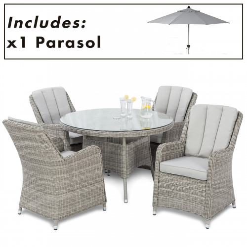 Oxford 4 Seat Round Dining Set with Venice Chairs and Parasol