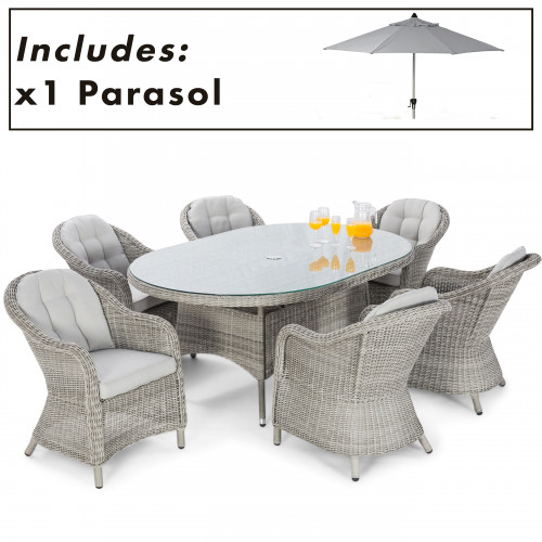 Oxford 6 Seat Oval Dining Set with Heritage Chairs and Parasol