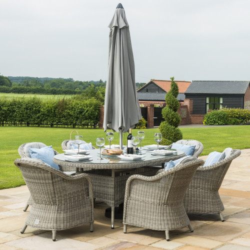 Oxford 6 Seat Oval Ice Bucket D/set with Heritage Chairs with LS and Parasol