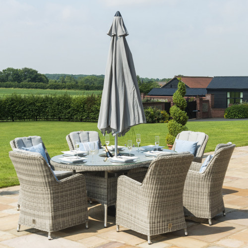 Oxford 6 Seat Oval Ice Bucket D/set with Venice Chairs with LS and Parasol