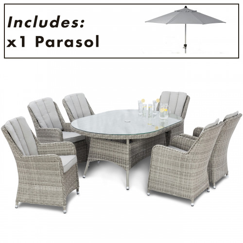 Oxford 6 Seat Oval Dining Set with Venice Chairs and Parasol