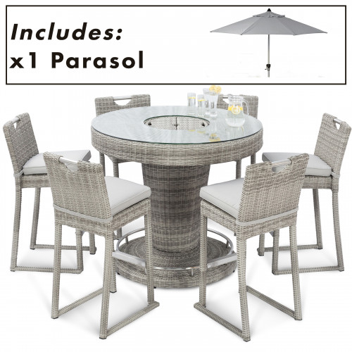 Oxford 6 Seat Round Bar Set with Ice Bucket and Parasol