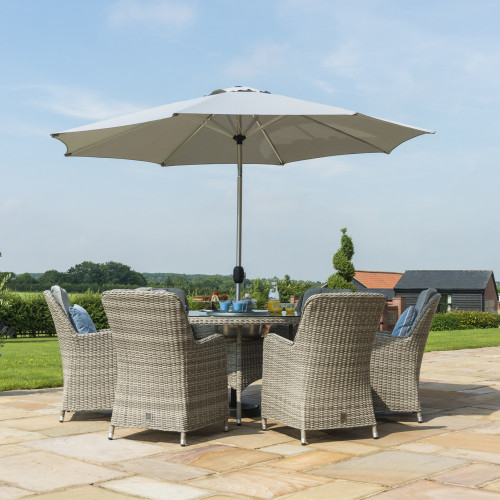 Oxford 6 Seat Round Ice Bucket D/set with Venice Chairs with LS and Parasol