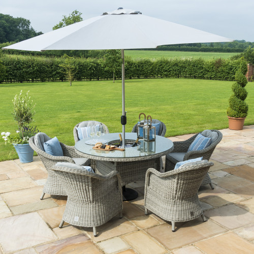 Oxford 6 Seat Round Ice Bucket D/set with Heritage Chairs with LS and Parasol