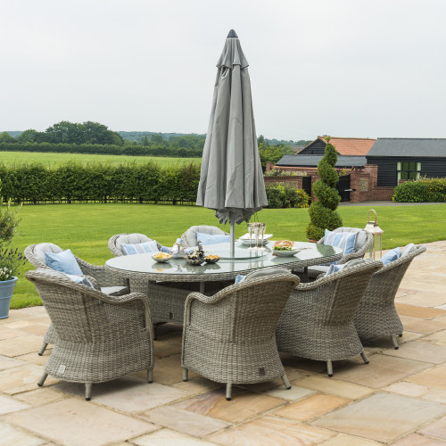 Oxford 8 Seat Oval Ice Bucket D/set with Heritage Chairs with LS and Parasol