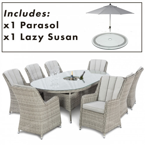 Oxford 8 Seat Oval Ice Bucket D/set with Venice Chairs with LS and Parasol