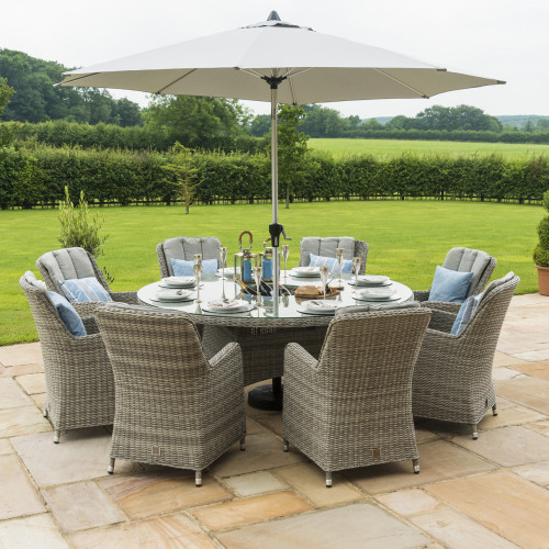 Oxford 8 Seat Round Ice Bucket D/set with Venice Chairs with LS and Parasol