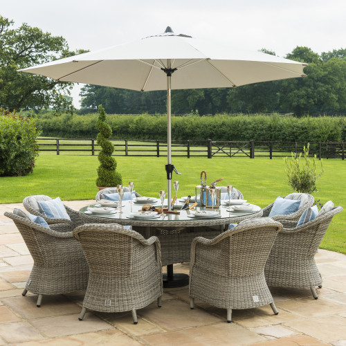 Oxford 8 Seat Round Ice Bucket D/set with Heritage Chairs with LS and Parasol