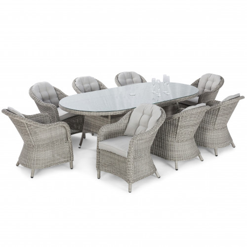 Oxford 8 Seat Oval Dining Set with Heritage Chairs