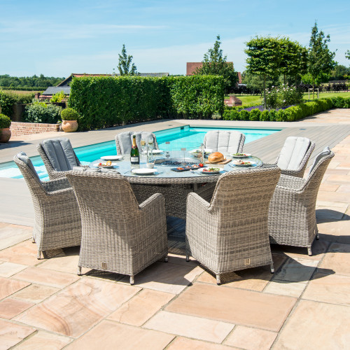 Oxford 8 Seat Round Fire Pit Dining Set with Venice Chairs and Lazy Susan