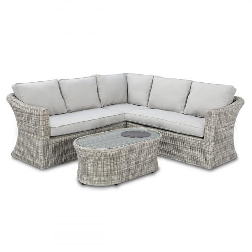 Oxford Small Corner Sofa Set with Fire Pit Coffee Table