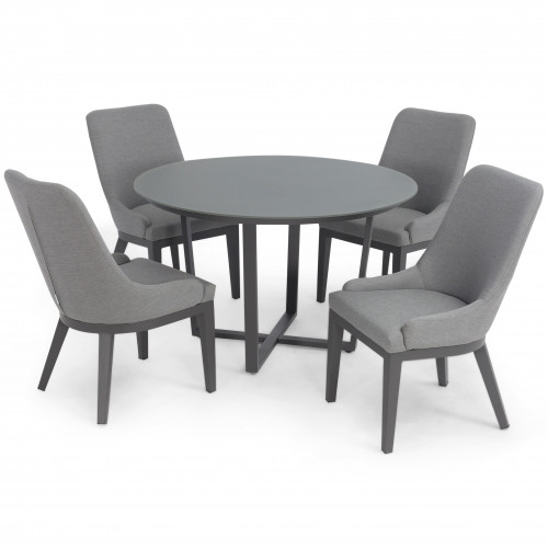 Pacific 4 Seat Round Dining Set / Flanelle