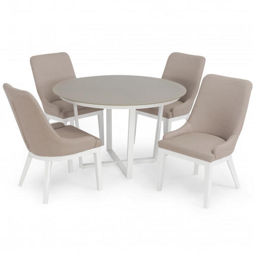 Pacific 4 Seat Round Dining Set (white frame) / Taupe
