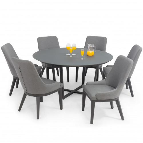 Pacific 6 Seat Round Dining Set / Flanelle