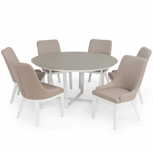 Pacific 6 Seat Round Dining Set (white frame) / Taupe