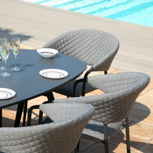 Pebble 6 Seat Oval Dining Set / Flanelle