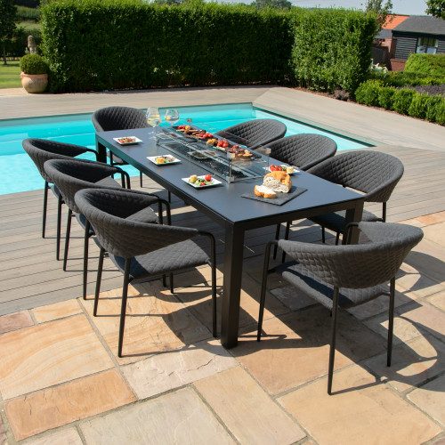 Pebble 8 Seat Rectangular Dining Set - Fire Pit Table / Charcoal