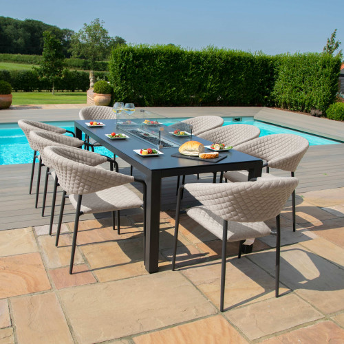 Pebble 8 Seat Rectangular Dining Set - Fire Pit Table / Taupe