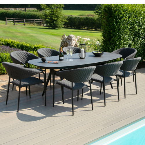 Pebble 8 Seat Oval Dining Set / Charcoal