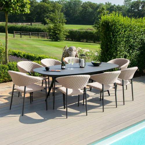 Pebble 8 Seat Oval Dining Set / Taupe