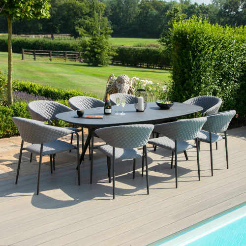 Pebble 8 Seat Oval Dining Set / Flanelle