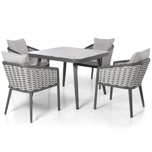 Portofino 4 Seat Square Dining Set