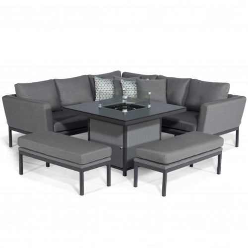 Pulse Square Corner Dining Set - With Fire Pit Table / Flanelle